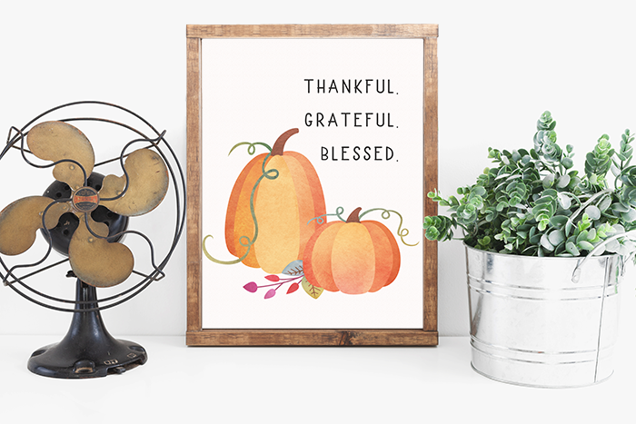 Thankful - Grateful - Blessed - Fall decor