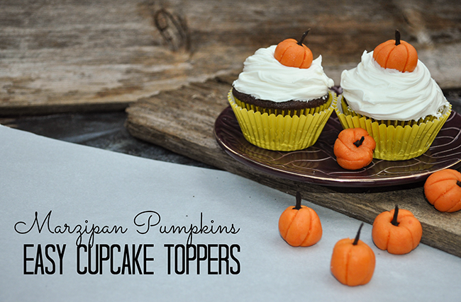 easy fall craft - marzipan pumpkins - great cupcake toppers!
