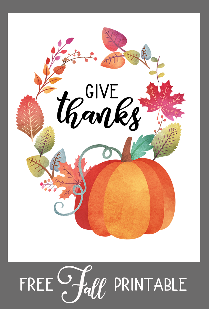 Fall Printable - Give Thanks - Free Fall Printable Sign