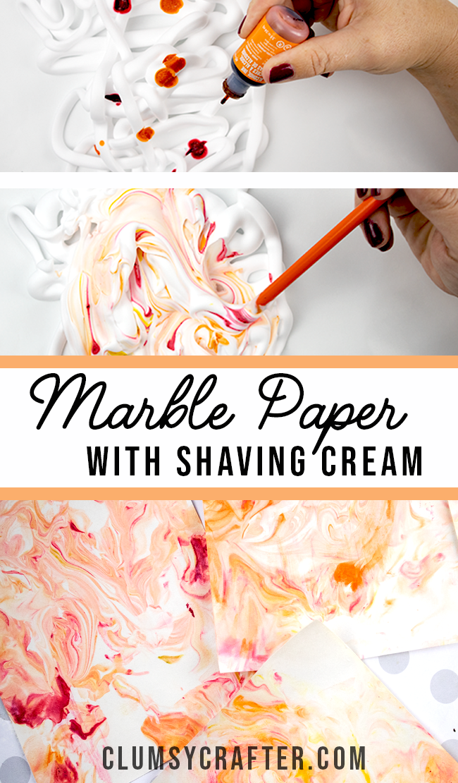 CUTE Project! How to marble paper with shaving cream and ink or food dye.