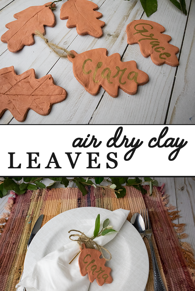 Easy and fun way to make leaves using air dry clay! Perfect for fall crafts or for table settings.