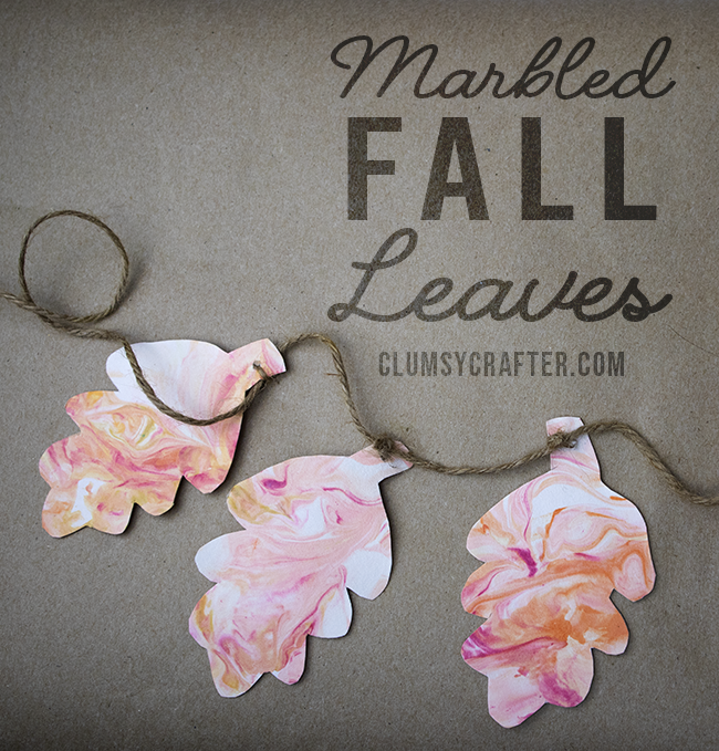 Marbled Fall Leaves - You can makes these Easy DIY Fall Decorations using shaving cream and food dye!