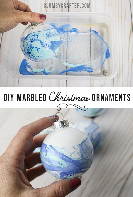 DIY Marbled Christmas Ornaments. So fun and easy to make! Plus they look amazing.