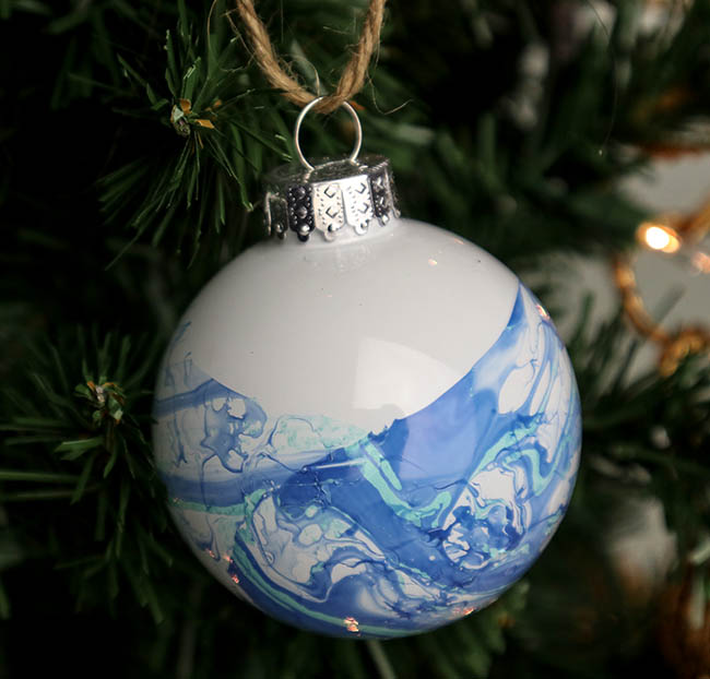 Easy Marbled Christmas Ornaments made with Nail polish!