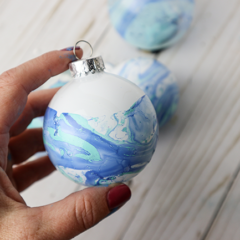 Marbled Christmas Ornaments with Nail Polish