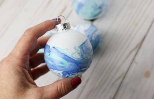 Marbled Christmas Ornaments with Nail Polish