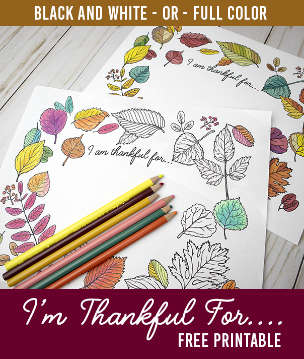 I Am Thankful For Free Printable Coloring Sheet Or Fully Colored