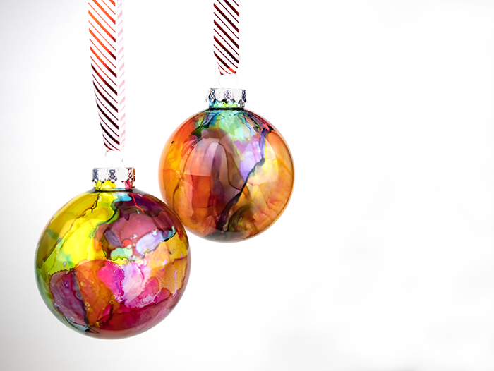 Alcohol Ink Christmas Ornaments.Diy Watercolor Effect Ornaments Made With Alcohol Inks