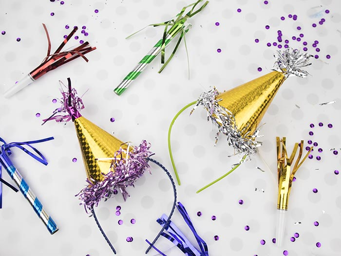 DIY Dollar Store Craft - You can make these mini party hats for New Years Craft or for DIY party