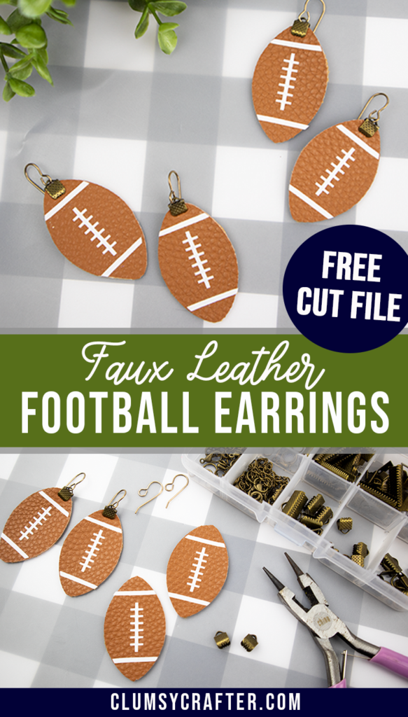 Leather Football Earrings with a Free Cut File - Clumsy Crafter