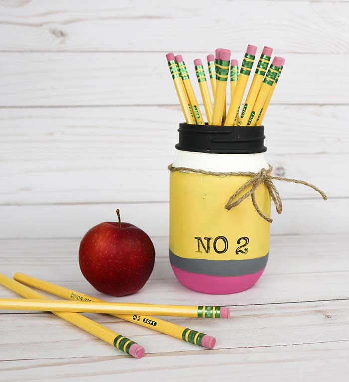 Pencil Mason Jar Fun Teacher Gift Idea Clumsy Crafter
