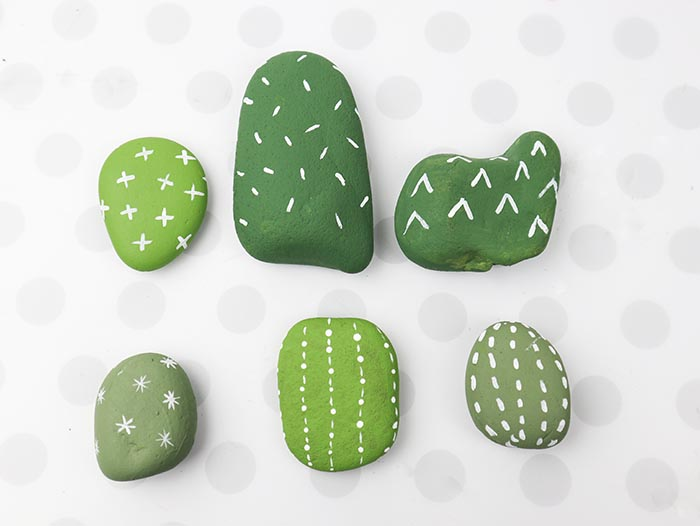 painted rocks turned into cactus