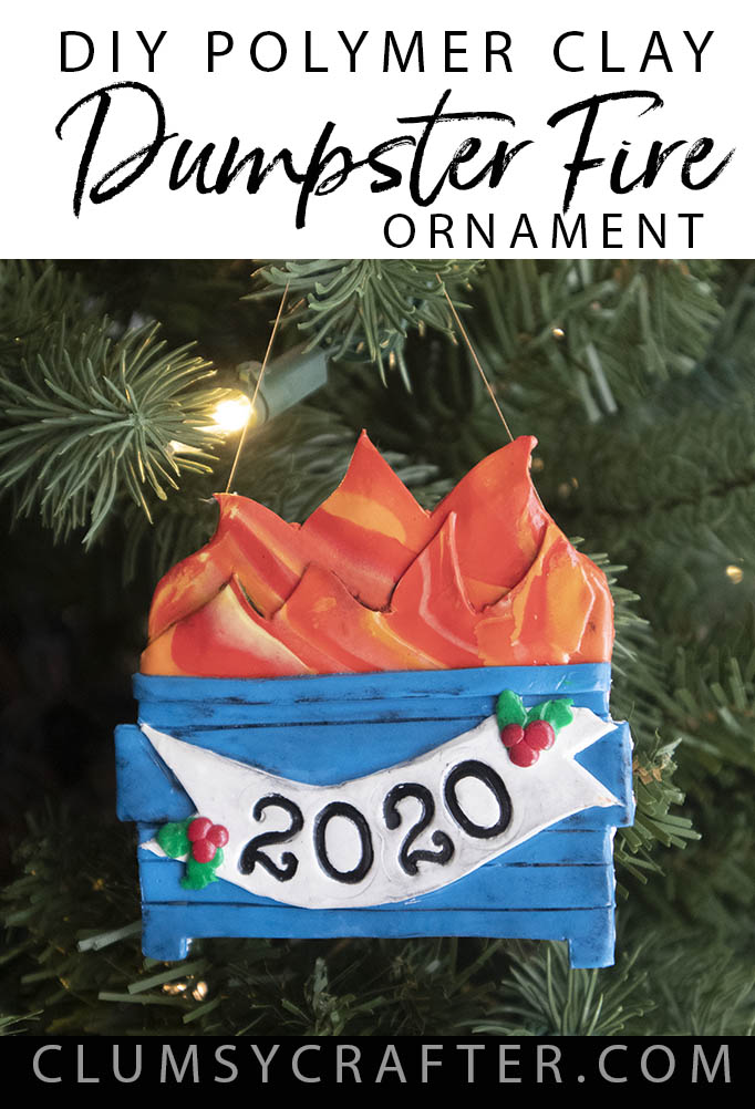 DIY Polymer Clay Dumpster Fire Christmas Ornament by Clumsy Crafter